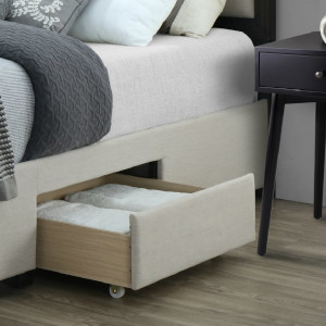Soloman Upholstered Panel Bed Frame Storage Drawers Wood Trim Headboard King Beige Linen Functional