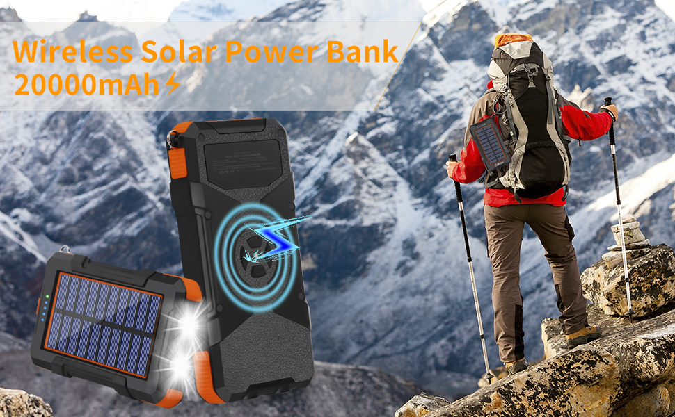 solar charger power bank with wireless charging portable charger  solar usb charger