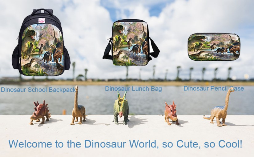 Cool Dinosaur Children Backpack Set with School Bag Lunch Bag Pencil Case