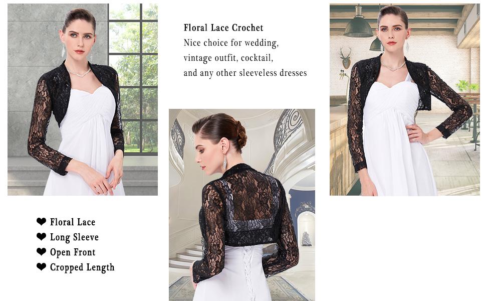 womens long sleeve lace shrug cropped bolero jacket