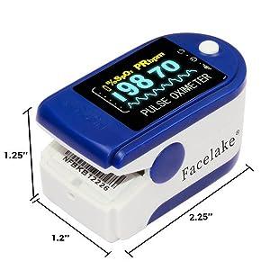 Facelake 350 Pulse Oximeter Blood Oxygen SPO2 Monitor Screen Display Adults Kids Case Batteries