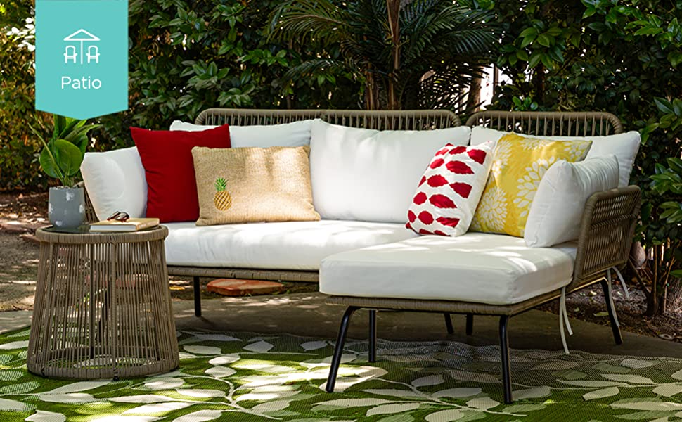 Patio set with icon and flag in top right