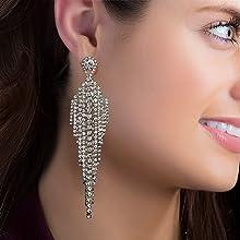 Rhinestone chandelier statement earrings drop dangle big disco fashion earring fringe party sparkle