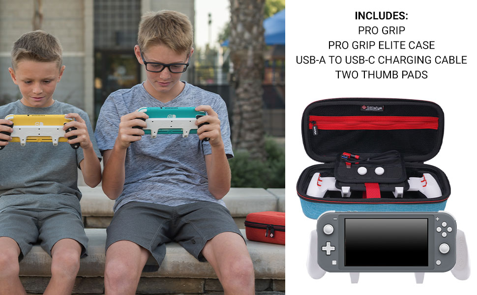 Includes: SwitchGrip Lite & Two Thumb Pads for the Switch Lite, Elite Carry Case USB Charger