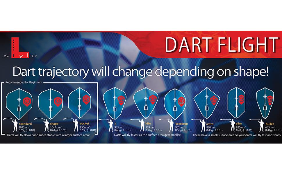 flights lstyle shape darts dart champagne ring cap standard regular slim
