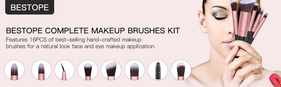 16 Makeup Brushes & 4 Blender Sponge & 1 Brush Cleaner