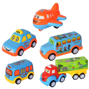 Set Five Car Taxi Bus Aeroplane Bus Truck Damper Vehicles Wheel Car Toy Mini Miniature Cartoon Cute