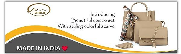 mammon stylish latest  ladies  womens hand bags combo  purse