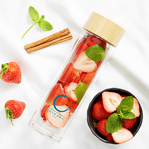 fruit infused water bottle glass double wall glass tea infuser  glass tea tumbler with strainer