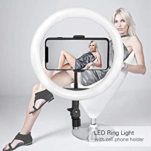 10 inche big ring round flash led light bright run with mobiles otg usb torch video calling chatting