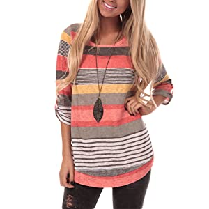 women color striped Tunic Tops