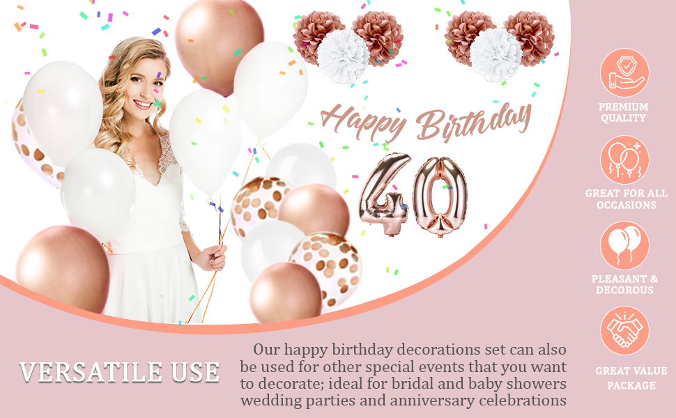 Rose Gold 40 bday decor