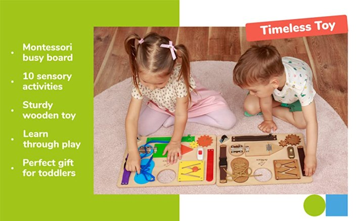 montessori toys for toddlers busy board acitivty wood woodes toy kids travel sensory brain activity