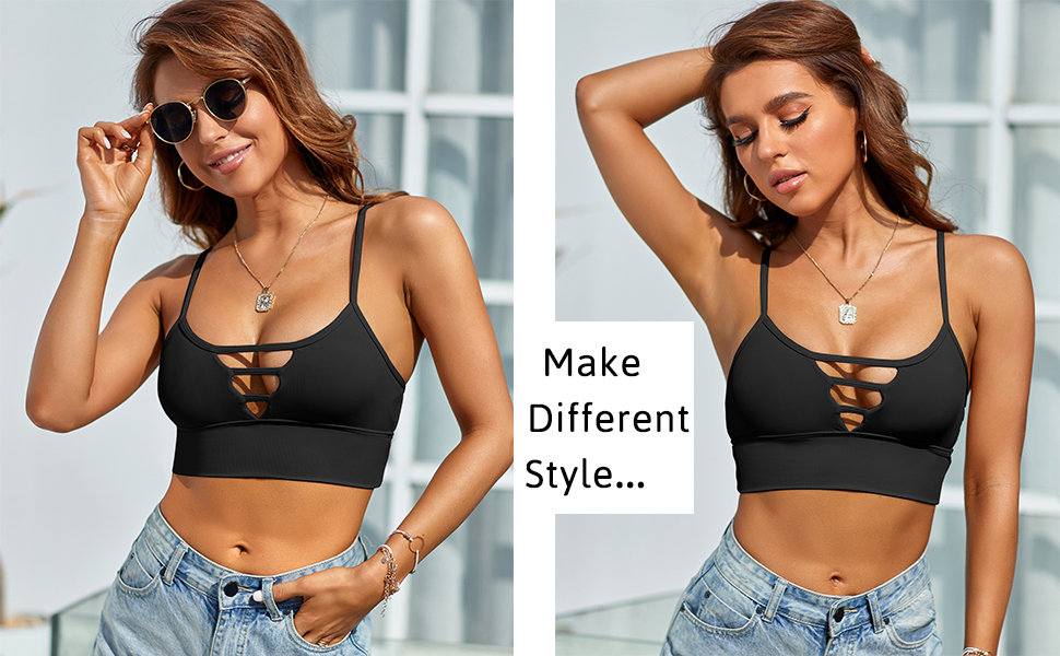 Longline Sports Bra for Women Camisole Workout Yoga Crop Top Strappy Padded Fitness Tank Shirts gym