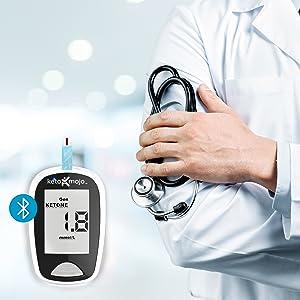 ceto-mojo, tiras de cetona, tiras de glicose, exame de sangue, diabético, medidor, sangue, acessível
