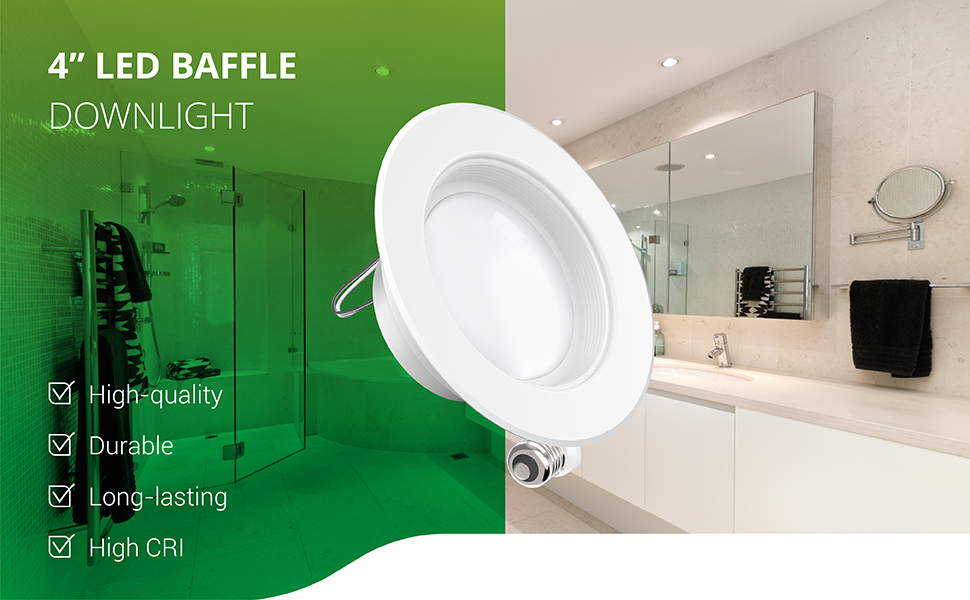 4 Inch LED Recessed Downlight Baffle Trim Dimmable Damp Rated Simple Retrofit Installation