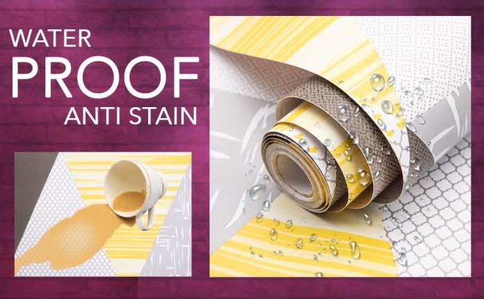 Rhombus Modern yellow wall stickers wallpaper, waterproof, anti stain, decal, DIY, Self adhesive PVC