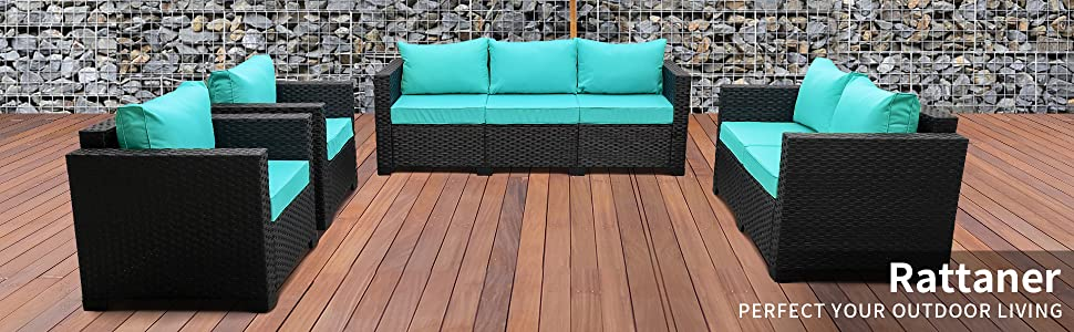 Patio Sectional Furniture Sofa Set 4 Pieces, Armrest chairs, Loveseat, Ottomans, 3-seat Couch, Table