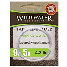wild water fly fishing 9' 5X tapered monofilament leader