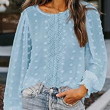 Damen Chiffon Bluse Langarm Shirts, Elegant Polka Dot Rundhals Oberteile