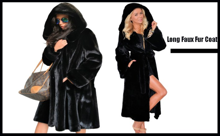 Black Long Faux Fur Winter Coat