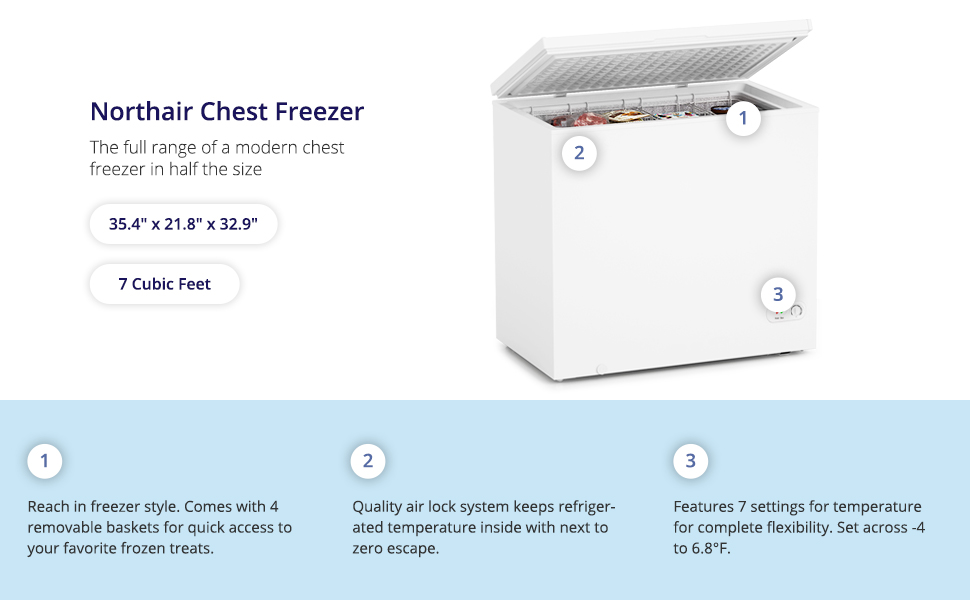 northair 7 cu ft white chest compact freezer