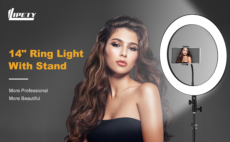 """14"""" ring light with stand"""
