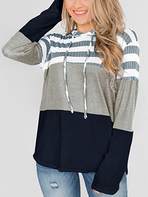 Damen Mode Einfach KapuzenPulloverStreifen Design Hoodie Oversize Komfort Langarmshirt mit Kapuze