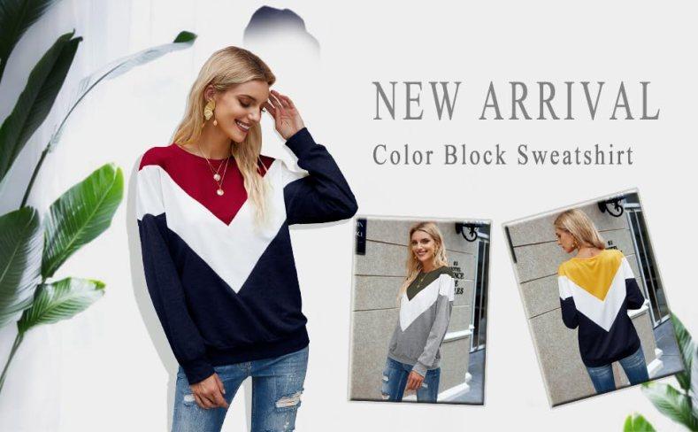 Casual Pullover Crew Neck Color Block Long Sleeve Side Split Loose Hoodies Sweatshirt Tops Shirts