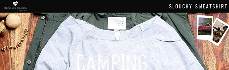 camping life outdoor slouchy 3/4 sleeves sweatshirt