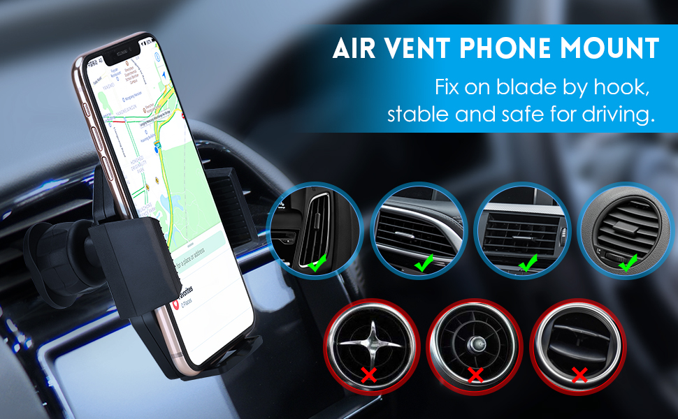 air vent phone mount, fix on blade by hook, stable and safe for driving