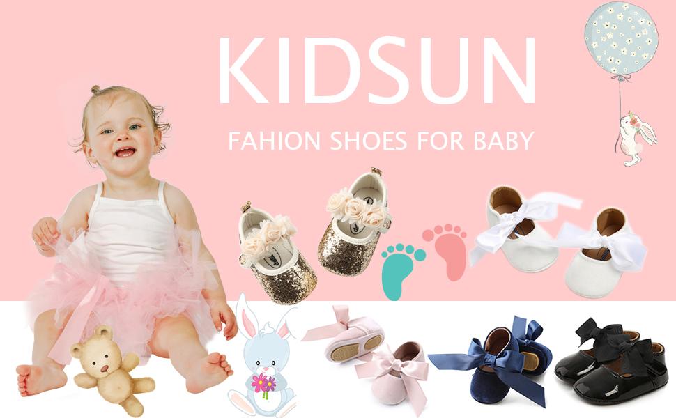 Infant Baby Girls Soft Sole Bowknot Princess Wedding Dress Mary Jane Flats Prewalker Newborn Light