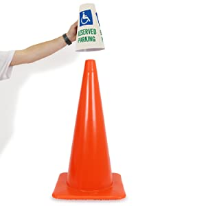 Handicapped Reserved Parking Traffic Cone Message Collar, Reflective Prismatic Vinyl