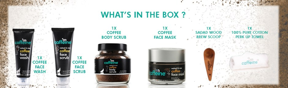 whats in the box coffee face wash face scrub body scrub face mask brew scoop pure cotton towel