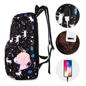 School Backpack Set for Girls Teens School Bag Bookbag Waterproof USB Charger Computer Compartment