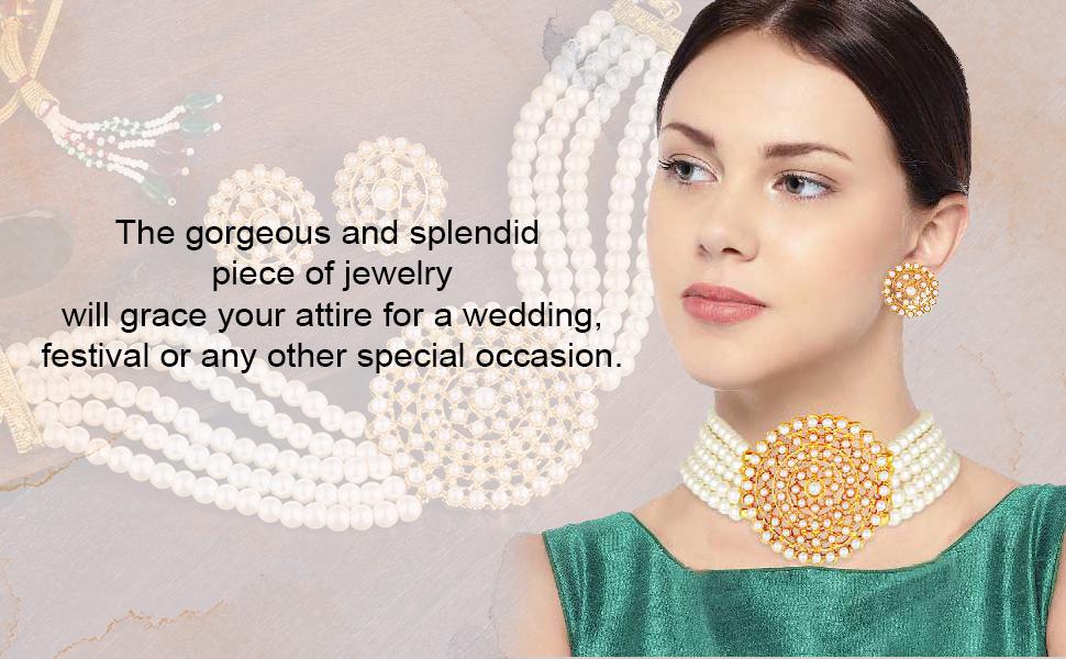 white Choker Necklace Jewellery Set