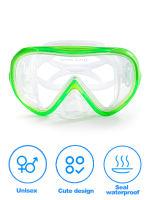 Kids Snorkeling Gear Diving Mask Scuba Swim Goggles nose coverTempered Glass Snorkeling Diving boy