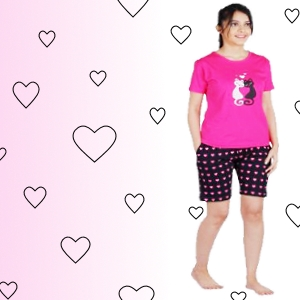 Cartoon print soft fabric loose fit half sleeve top and printed shorts with elastic and drawstring