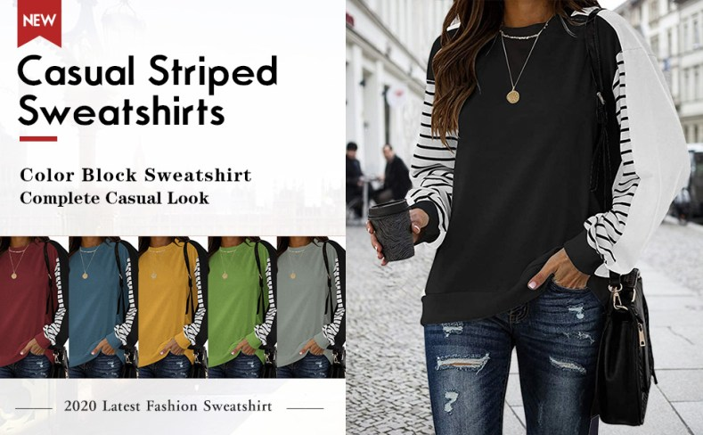 Womens Casual Color Block Long Sleeve Round Neck T Shirts Blouses Sweatshirts Tops