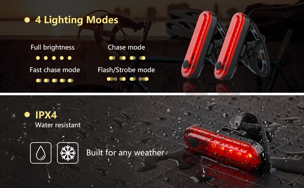 4 lighting modes and waterproof