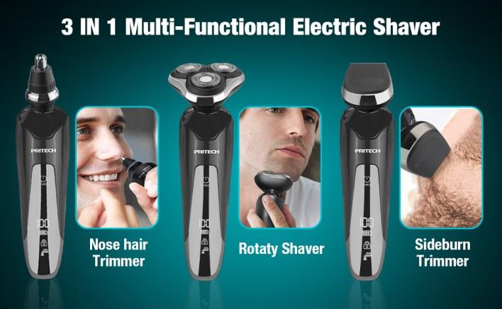 pritech electric shaver electric face shaver men electric razors for men cordless rechargeable