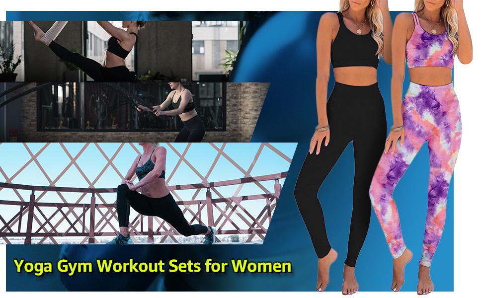 Women's Fashion 2 Pieces Workout Sets High Waist Yoga Leggings  tracksuit Sport Gym Athletic Clothes