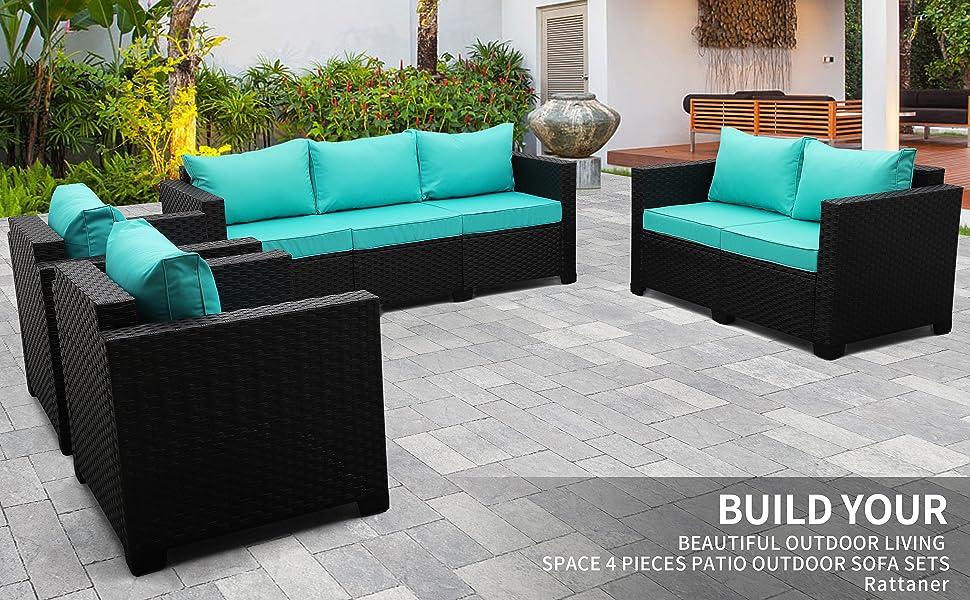 Rattaner Patio Garden Sectional Furniture Set 4 Pieces, Outdoor Wicker conversation Sofa Couch Set