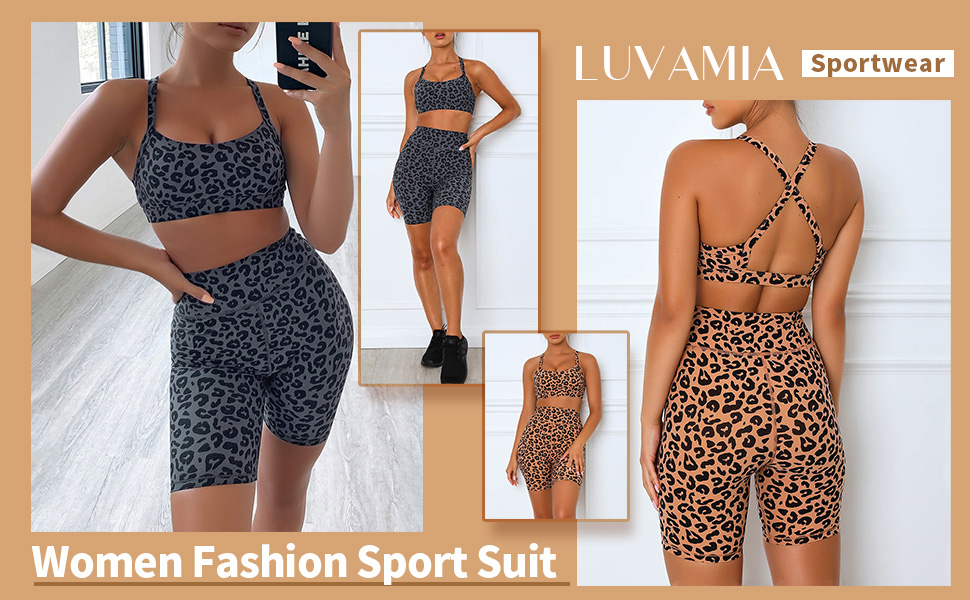 valentines day gifts 2 Piece Outfits High Waist Workout Shorts Yoga Sports Racerback Bra Sets