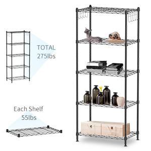large  capacity 5 tier shelving unit