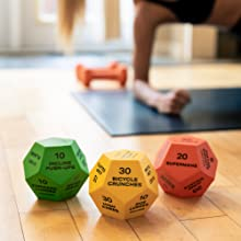 Exercise Dice, Green, Yellow and Red