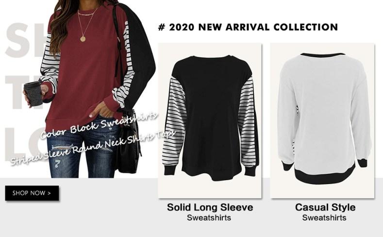Women Long Sleeve Sweatshirt Crew Neck Colorblock Striped Pullover Tops