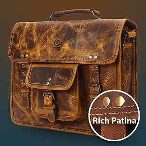 Leather satchel messenger Laptop Bag Shoulder Strap Water resistant Briefcase Carrying Sleeve