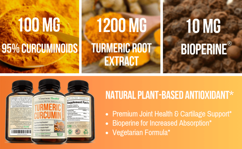 Turmeric Curcumin Curcuminoids Root Powder Bioperine Black Pepper Vimerson Health
