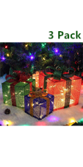 Christmas Lighted Gift Boxes, Set of 3